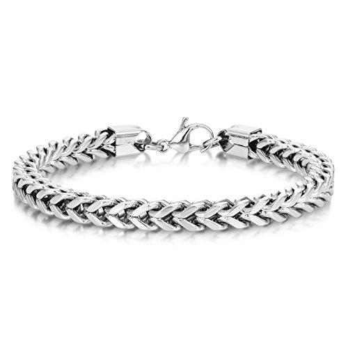 Chain Foxtail Bracelet (Men's Stainless Steel Franco Chain Bracelet 6mm Foxtail Link 9 inch)