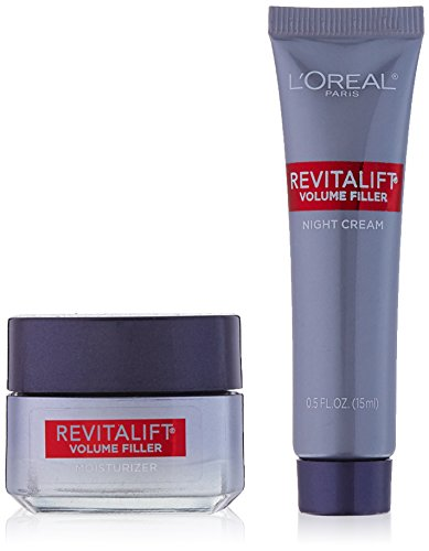 LOréal Paris Skincare Revitalift Volume Filler Mini Day Cream and Night Cream, Anti-Aging Travel Size Set with Hyaluronic Acid to Smooth Out Lines and Wrinkles, 2 count