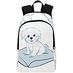WSNWCY Kids Backpack Bolognese Puppy Cute Fluffy Dog Durable Water Resistant Classic Sport Travel Bag Girls Bag for College Gift Bag School Toilet Bags for Hiking