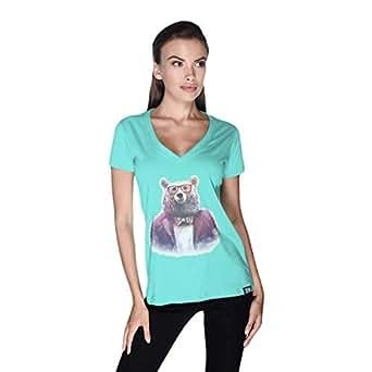 Creo Bear Pug Life V-Neck T-Shirt For Women - L, Green