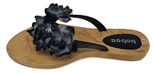 Womens Hawaiian Floral Riem Zomer Strand String Slip Op Slippers Slippers Sandalen Zwart