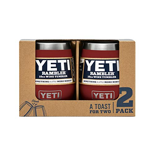 YETI Rambler 10 oz Stainless Steel Vacuum Insulated Wine Tumbler, 2 Pack, Brick Red