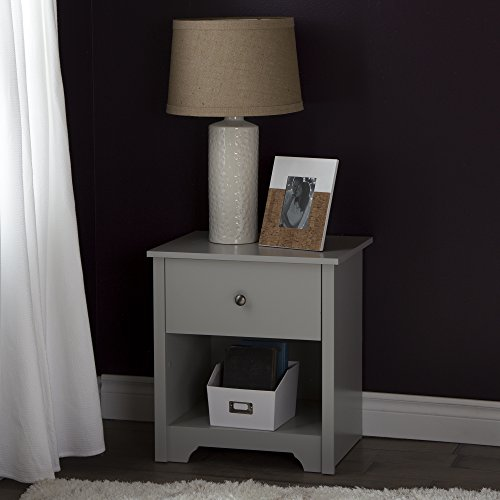 South Shore Vito 1-Drawer Night Stand, Soft Gray
