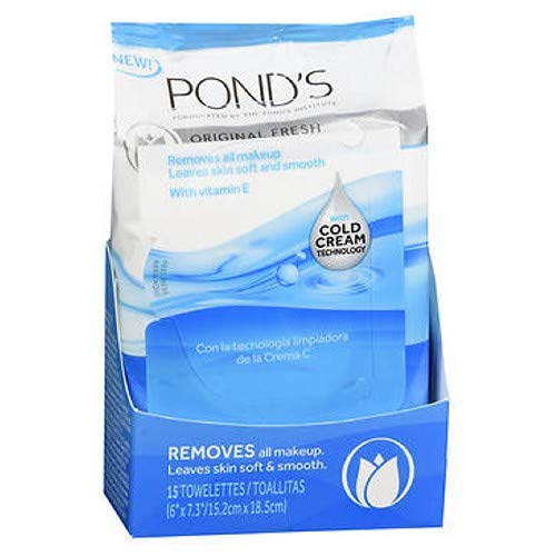 (Pond's MoistureClean Towelettes, Original Fresh Makeup Remover Wipes with Vitamin E 15 ea (Pack of 3))