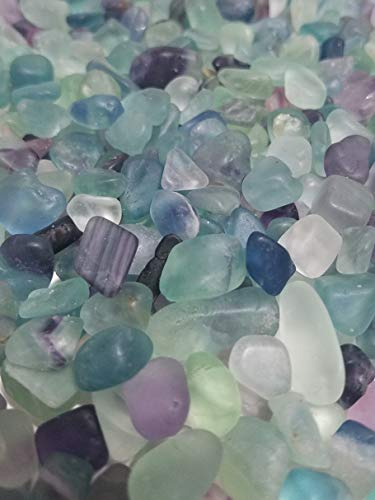JM 1.1 lb Flourite Nature Stones & Crystal Tumbled Chips Gemstone Crushed Pieces Irregular Shaped Jewelry Making Home Crafts Projects Flower Pot Fish Tank Decoration Gift ()