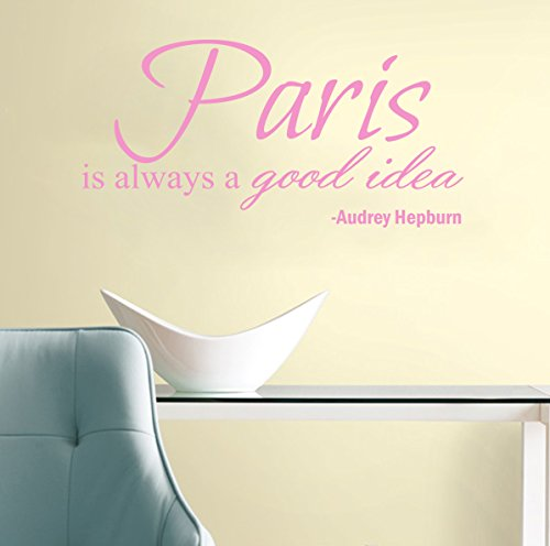 Cheap  Paris Is Always A Good Idea Audrey Hepburn Quote Wall Decal 30x15..