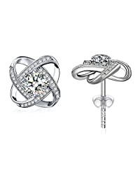 """Earrings Sterling Silver Cubic Zirconia Stud Earrrings J.Rosée Jewelry for Women """"Never Ever Be Apart"""" Ideal Christmas Gift for Mother Wife Girlfriend"""