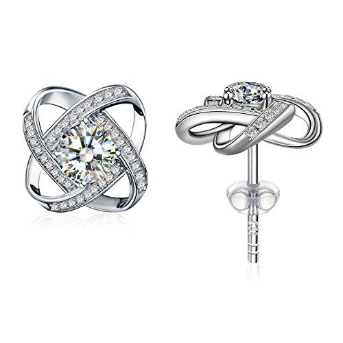 Earrings, 925 Sterling Silver Cubic Zirconia Stud Earrrings J.Rosée Jewelry for Women