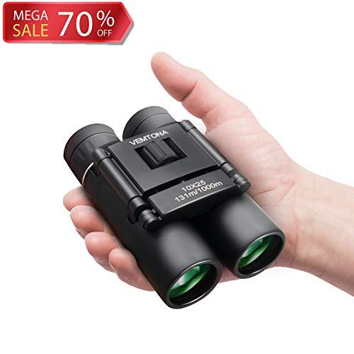 VEMTONA 10X25 Smal Compact Binoculars for Adults Kids Bird Watching Concert Travel Sightseeing Hiking, Lightweight Mini Pocket Folding Binoculars Telescope Theater Opera