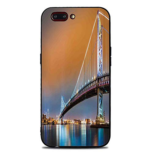 Camden Glass (Phone Case Compatible with iphone7 Plus iphone8 Plus Brandnew Tempered Glass Backplane,Apartment Decor,Ben Franklin Bridge and Philadelphia Skyline Viewed from Camden Across the Delaware River Decorat)