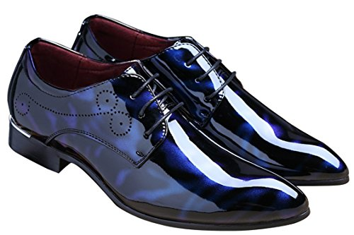 Black Dress Shoes for Men Pointed Toe Floral Patent Leather Lace Up Oxford Santimon Black Blue Red Blue
