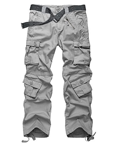 Men's Casual Military Pants, Camo Tactical Wild Combat Cargo ACU/BDU Rip Stop Trousers with 8 Pockets #7533-Light ()