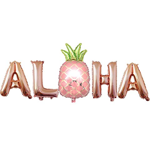 Meet&sunshine Balloons,Party Decoration Luoem 1 Set Aloha Hawaiian foil Ballons 16 Inch Metal (Rose Gold)