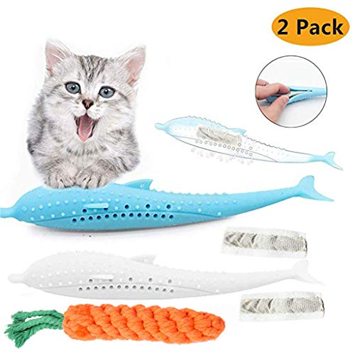 Jinjin Soft Silicone Mint Fish Cat Toy Catnip Pet Pet Grams Toy Teether Decompression is Beneficial to The Healthy Growth of Cats 2 Toys and 1 Carrot (C) (Rawhide Ii)