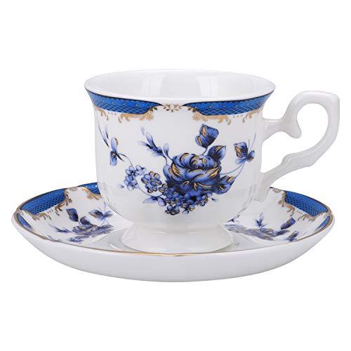fanquare Vintage Taza de Cafe Espresso de Rosa Azul, Juego de Taza de Te con Plato de Porcelana Inglesa, 160 ml