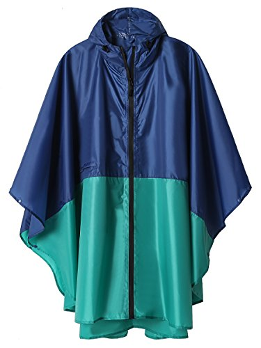 (Rain Poncho Jacket Coat for Adults Hooded Waterproof with Zipper Outdoor (Kenzo))