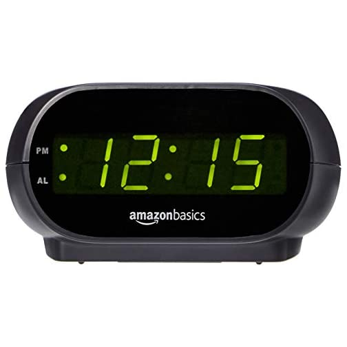 Amazon Basics Small Digital Alarm Clock with Nightlight and Battery Backup, LED Display