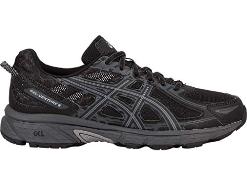 (ASICS Mens Gel-Venture 6 Running Shoe, Black/Phantom/Mid Grey, 12 4E)