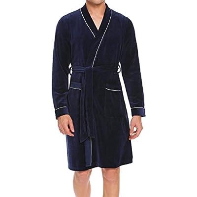 Dicesnow Mens Kimono Bathrobe Waffle Long Sleeve Lightweight Spa Robe Sleepwear S-XXL