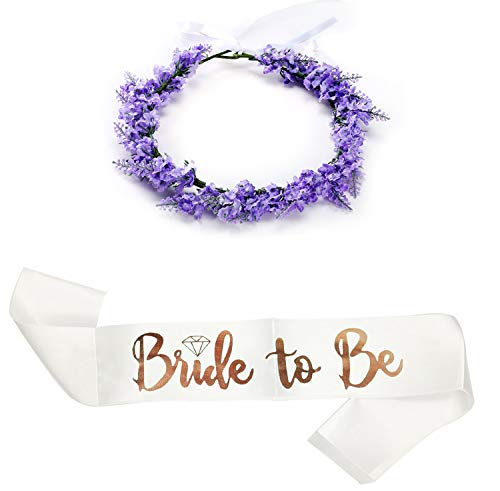 SEWEI Bride to Be Sash Headband Bachelorette Bride Tribe Bridal Shower Wedding Party favor Supplies (Violet) ()