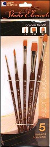 Loew-Cornell 1024938 Studio Elements Golden Taklon Short Handle Round/Short Handleader/Filbert Brush - Filbert Taklon Brush