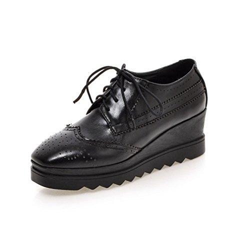 AllhqFashion Damen Schnüren Quadratisch Zehe Mittler Absatz PU Leder Rein  Pumps Schuhe Schwarz