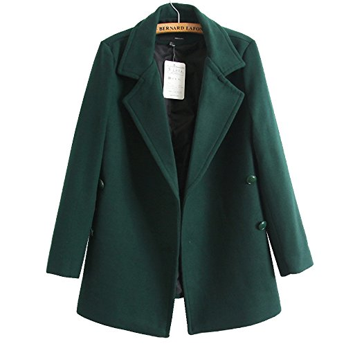 Gloshop Womens Winter Double Breast Jacket Slim Wool Coat Collar Overcoat Green XL