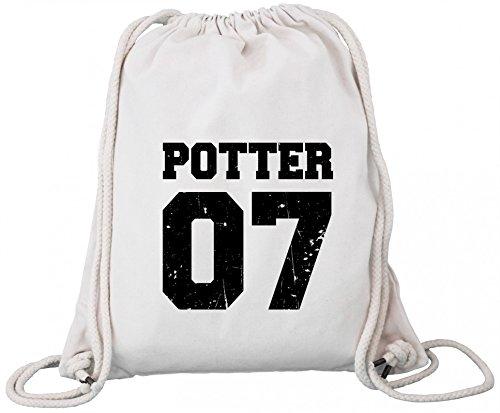 ShirtStreet Fanartikel Fan Kult Film Trikot Bio Baumwoll Turnbeutel Rucksack Gym Bag Potter 07 Natural