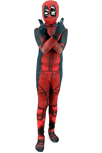 [Kid's Halloween Deadpool Costume Kid's Jumpsuit 3D Printed Full Bodysuit Cosplay Outfit (Large)] (Deadpool New Costumes)
