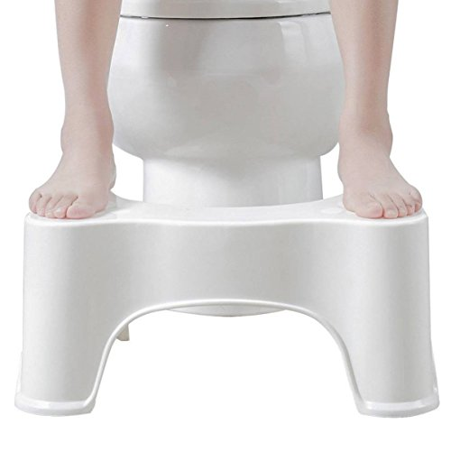 (1 Set Toilet Squat Step Stool Bathroom Potty Aid Constipation Piles Non-Slip Safety Children Kids Boys Baby Shower Cushion Easy Sit Chair Seat Helper Bed Kitchen Sink Small Ladder White Plastic)