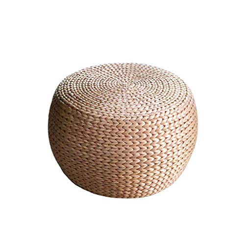HOME LIFES Round Straw Rattan Weave Pouf Primary Color Office and Family Sofa Bench Wine Ottoman Footstool (Size : 323222CM)