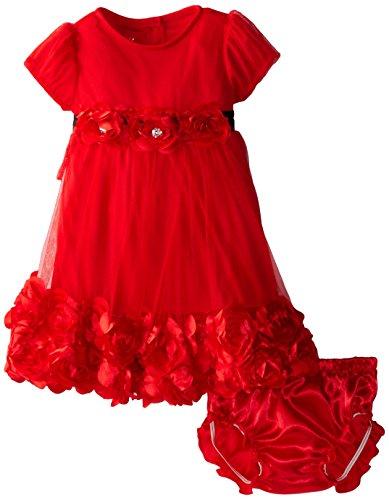 Nannette Baby Girls' 2 Piece Satin Rosette Dress Set, Red, 18 Months