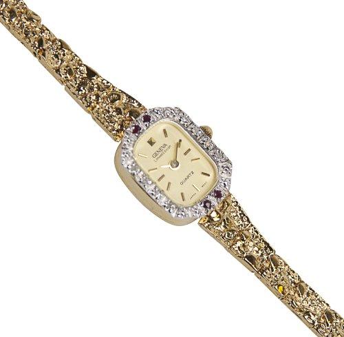 Geneva Women's Petite Gold-Tone Nugget Diamond and Ruby Bracelet Watch # 4120G Petite Diamond Ladies Watch