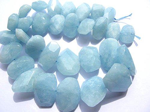 Aquamarine Faceted Nugget Bead (Genuine Aquamarine Beryl gemstone Aquamarine high quality oval freeform slab nuggets marquise faceted 10-20mm full)