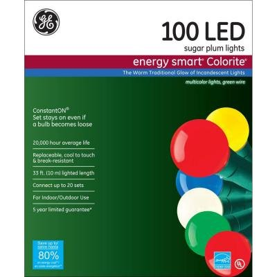 GE Energy Smart 100-Light LED Multi-Color Super Bright Sugar Plum Light Set