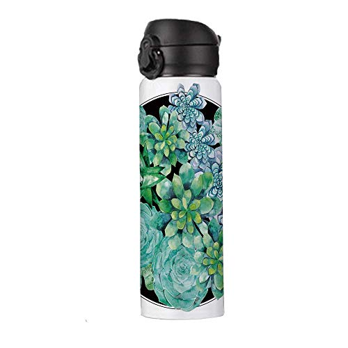 """Succulent Stainless Steel Insulation Travel Mug,Different Succulent Plants Corsage Design Exotic Flora Agave Foliage Decorative Thermos,9""""H x 2.5""""W"""