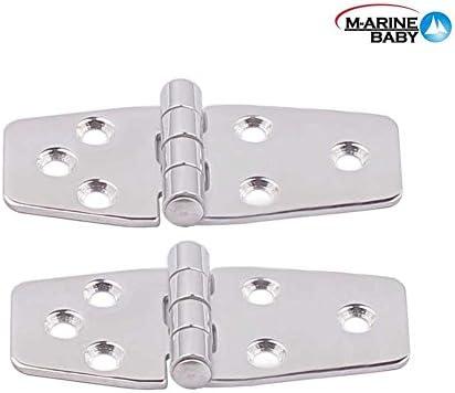 M-ARINE BABY 2PCS Marine Grade Stainless Steel Mirror Polished Door Hinge for Boat