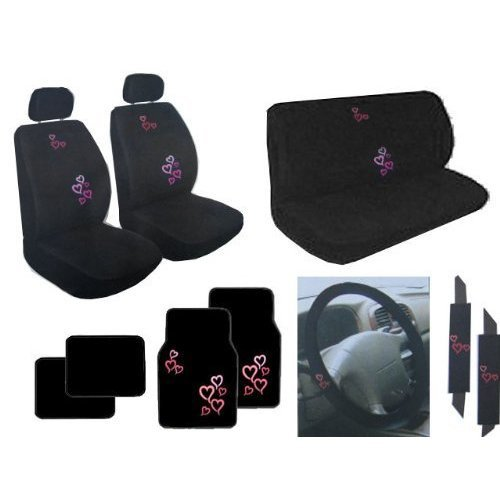 Auto Interior Red and Pink Hearts Back Bucket Seat Covers, Head Rest Covers, Bench Seat Cover, Steering Wheel Cover, Shoulder Harness Pressure Relief Cover, Front Floor Mats, and Black Rear (Hearts Bucket Seat Cover)
