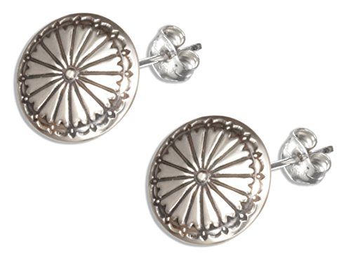 Sterling Concho - Sterling Silver Round Concho Earrings