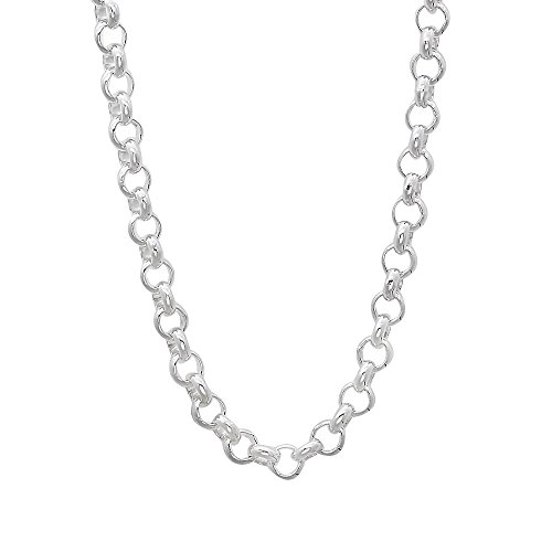 4mm 925 Sterling Silver Nickel-Free Rolo Cable Link Chain, 20 inches - Made in Italy + Bonus Cloth (Silver Rolo Solid)