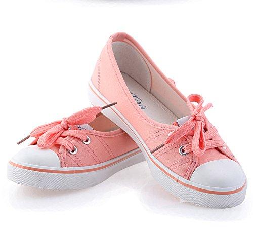 Minetom Damen Mädchen Mode Segeltuchschuhe Runde Zehe Flache Ferse Espadrilles Freizeit Loafer Schuhe Rosa