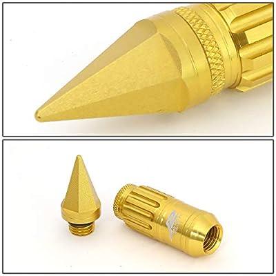 J2 Engineering LN-T7-012-15-GD Gold 7075 Aluminum M12X1.5 16Pcs L: 80mm Spiky Cap Lug Nut w/4Pcs Lock+Key: Automotive