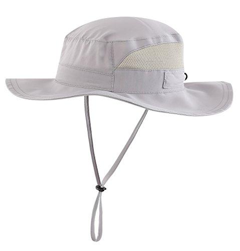 Connectyle Toddler Kids UPF 50+ Bucket Sun Hat Wide Brim UV Sun Protection Hat (Light Grey)