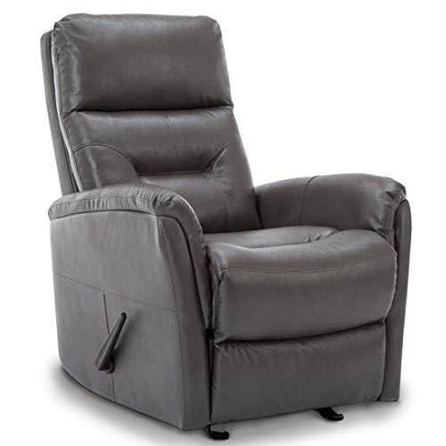 BONZY Rocker Recliner Chair Rocking Overstuffed Backrest Glider Living Room Chair - Gray Leather Chair