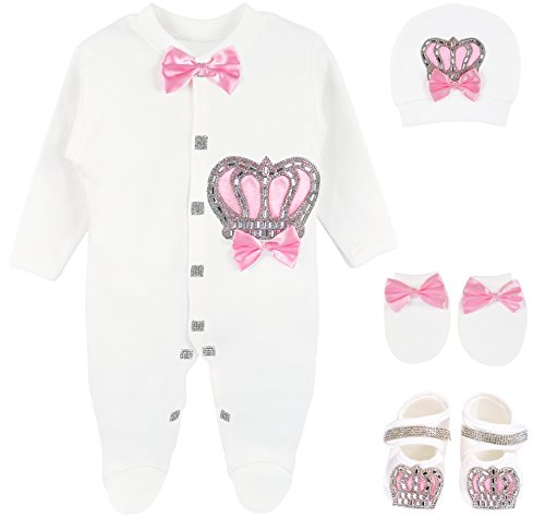 Lilax Baby Girl Newborn Crown Jewels Layette 4 Piece Gift Set 0-3 Months Pink ()