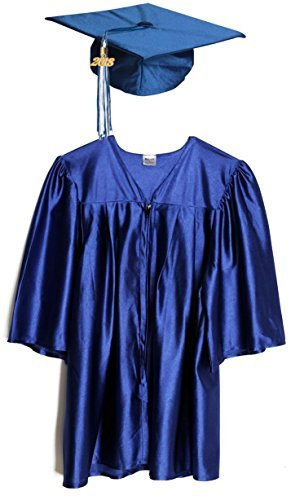 Medium Blue Shiny Preschool and Kindergarten Graduation Cap and Gown, Tassel and 2019 -