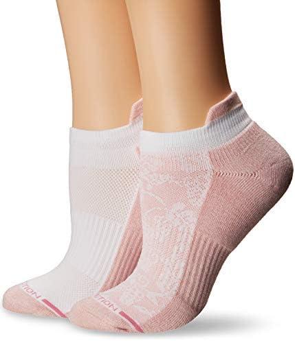 Dr. Motion Women's 2PK Dr. Motion Compression Low Cut Socks Sockshosiery, Pale Salmon/White tri colour dots, ONE SIZE