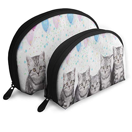 Makeup Bag Cute British Kitten Cat Balloon Colored Portable Shell Makeup Case For Women Halloween Gift Pack - 2 ()