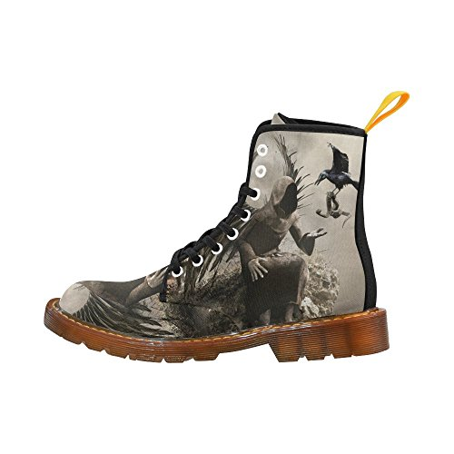 Fashion Shoes Women Lace Boots Interestprint Dark For Print Angel Up zzw0Y