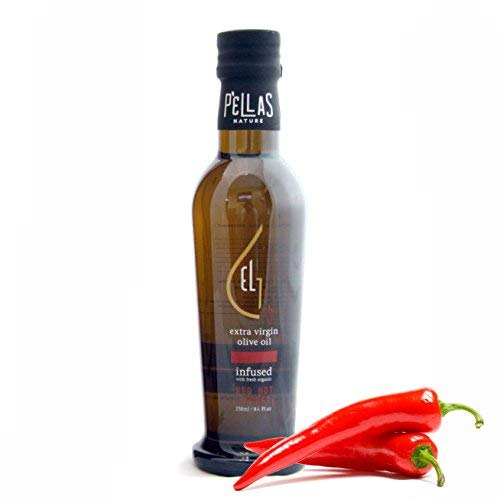(Pellas Nature Fresh Organic Hot Pepper Infused Extra Virgin Olive Oil, Ultra Premium, Single Origin, Handcrafted French Glass Bottle, Red, 8.45 oz.)